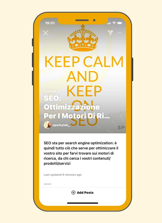 un iphone con uno screenshot che mostra le guide instagram