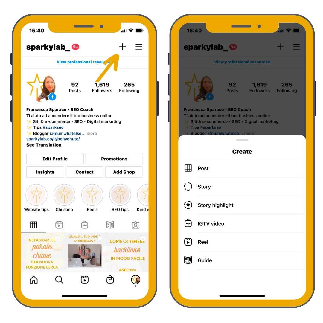 due schermi di iphone con istruzioni per instagram