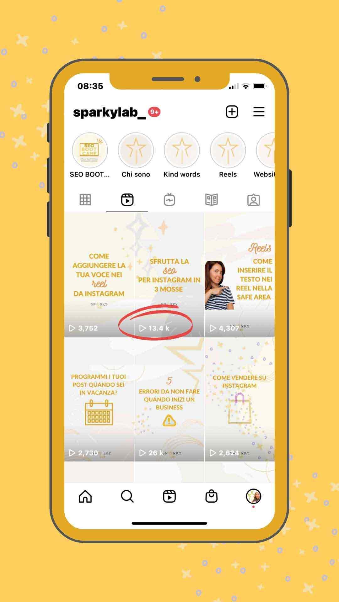 schermo di un iphone con dei dati su engagement post