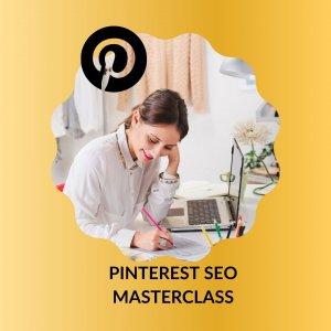una ragazza che scrive al computer in una cornice con il logo di pinterest