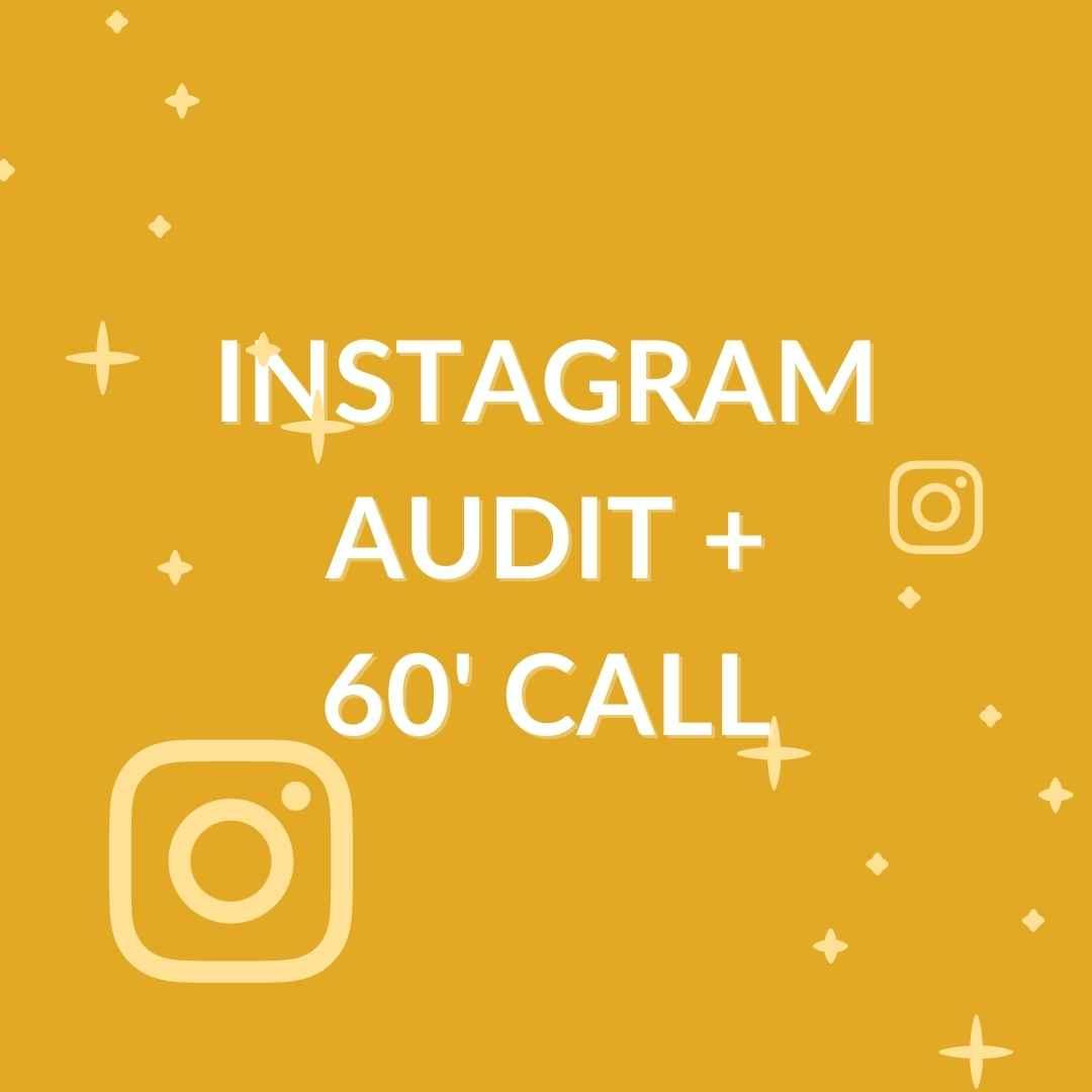 grafica con scritta in evidenza 'instagram audit PIù CALL'