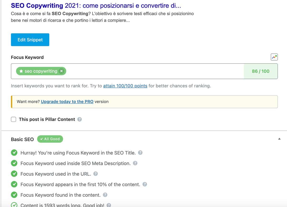 screenshot di una pagina web dovei vede la checklist del plugin seo